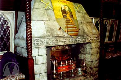 The fireplace in the Earl's chamber - note the underground roundel motif.