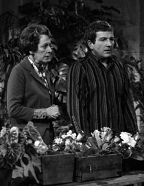 Colin Trafford (Keith Barron) and Mrs Gale (Beryl Cooke)