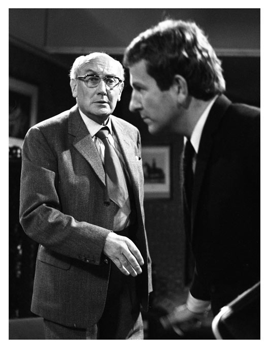BBC publicity photo showing Dr Harsham (Noel Howlett) and Colin Trafford (Keith Barron)