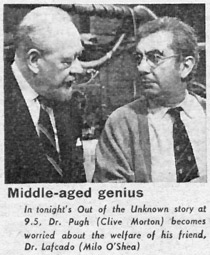 Radio Times billing photo - showing Clive Morton as Doctor Pugh and Milo O'Shea as Doctor Lafcado.